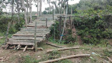 Photo of Masyarakat Kedua Desa Bergotong Royong Wujudkan Jembatan Bambu Sebagai Penghubung
