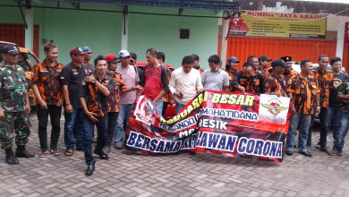 Photo of MPC PP Gresik Bersama PAC PP Balongpanggang Semprot Disinfektas Pasar Dan Terminal