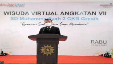 Photo of Hindari Penyebaran Covid, SD Muhammadiyah 2 Gresik Gelar Wisuda Secara Virtual